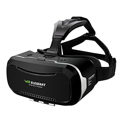"3D VR Headset, ELEGIANT Universal 3D VR Brille Einstellbar virtuelle Realität Box Brille Video Movie Game Brille Virtual 3D Reality Glasses VR World Head Mounted für 3D Filme und Spiele für 4.7""-6"" Android IOS Iphone Samsung Galaxy Mega 2 / Galaxy Note 5 4 3 S6 S6 S8 Edge iPhone 6 6 Plus 7 7 Plus/ LG G3 / SONY Experia T2 Ultra / Xperia Z3 + / MOTO Nexus 6 / HTC One Max / Wunsch 816 / Die M9 / ASUS Zenfone 2 usw"