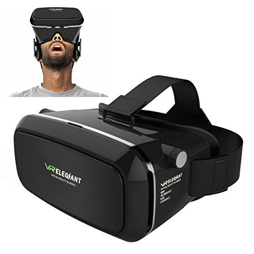 "ELEGIANT Einstellbar Universal 3D VR Virtual Reality Box Brille 3D VR Karton Video Movie Game Brille virtuelle Realität Glasses für 3.5""-6"" Android IOS Iphone Samsung Galaxy Mega 2 / Galaxy Note 4 / Galaxy Note 3 / Galaxy Note 4/ Galaxy Note 5 /Galaxy Note Edge/ Galaxy S6 Edge/ Galaxy S6 / Galaxy S8/ iPhone 6 / iPhone 6 7 Plus 7 / LG G3 / SONY Experia T2 Ultra / Xperia Z3 + / MOTO Nexus 6 / HTC One Max / Wunsch 816 / Die M9 / ASUS Zenfone 2 uswGoogle Pappkarton Oculus Rift Head Mounted Stirnband"